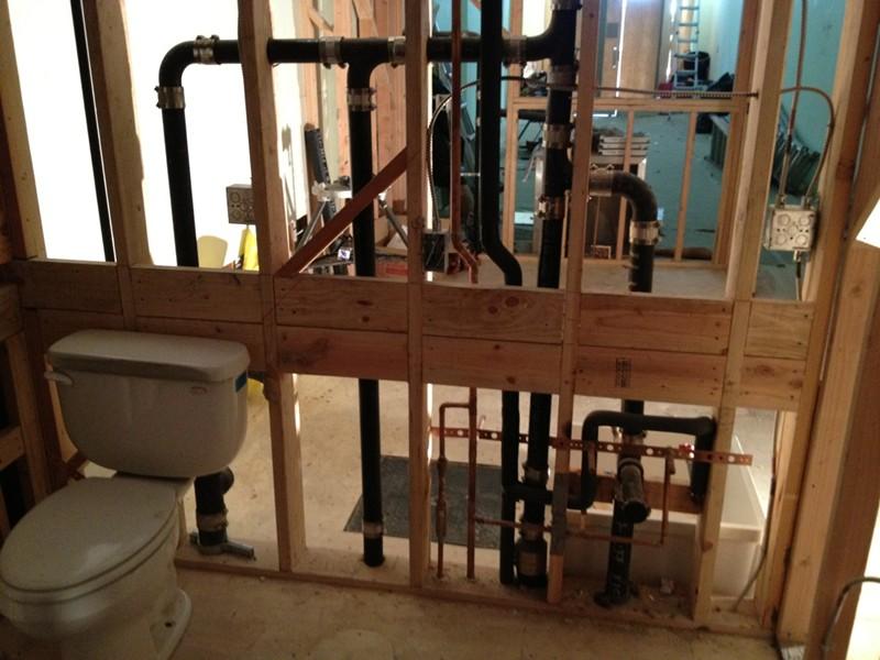 New bathroom construction plumbing project
