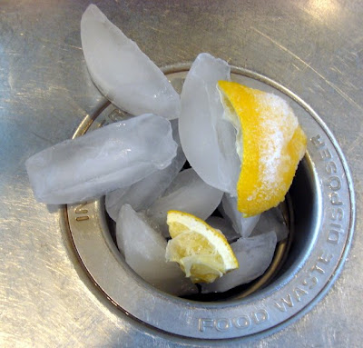 lemon and ice to unclog a garbage disposal